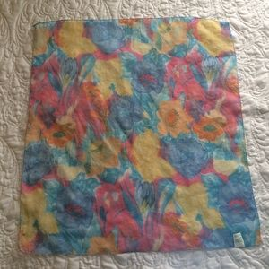 Accessories - Pastel Floral Square Scarf Polyester